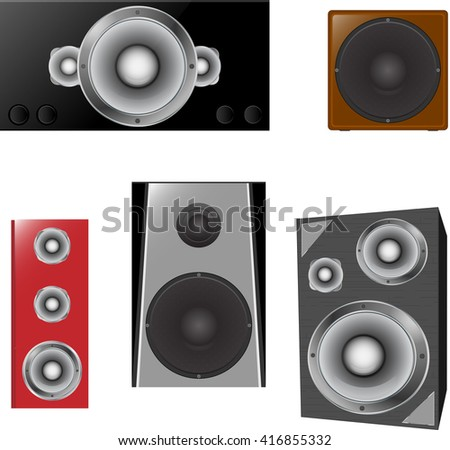 Set of colored stereo speakers, subwoofer isolated on white background. Realistic vector illustration. Icons, emblems, logo, element for design.