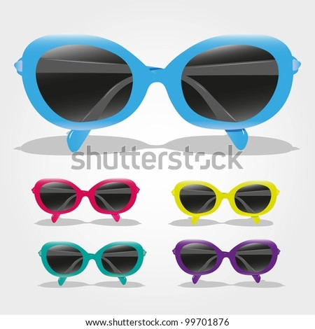 set of colored sunglasses, isolated on gray background, vector illustration - stock vector