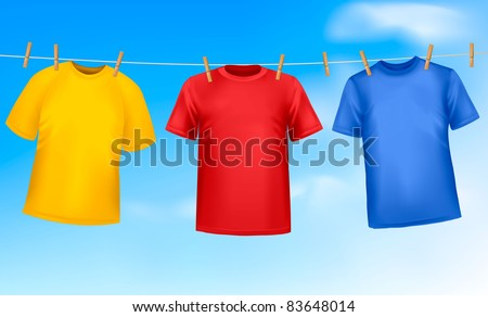 Set of colored t-shirts hanging on a clothesline on a sunny day. Vector illustration - stock vector