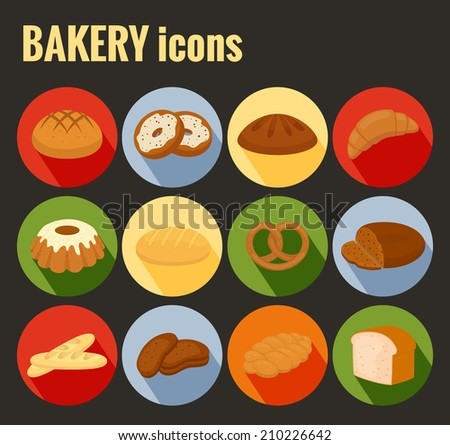 Set of colored vector bakery icons with a variety of bread loaves  baguette  pretzel  rolls  doughnuts  croissant and cake on round buttons with shadow - stock vector