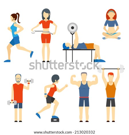 Set of colored vector icons of people exercising at the gym and fitness icons with weight lifting  bodybuilding  running  jogging  yoga and weight loss measurement - stock vector