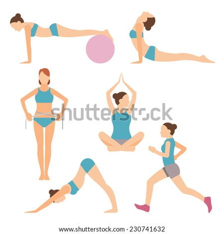 Set of colored vector icons of people exercising at the gym and fitness icons with weight lifting running jogging yoga and weight loss measurement - stock vector