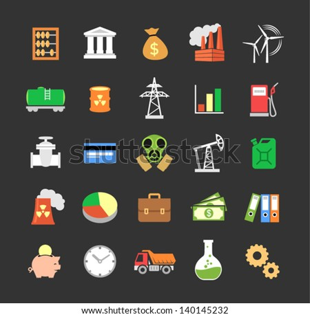 Set of colored vector industry icons