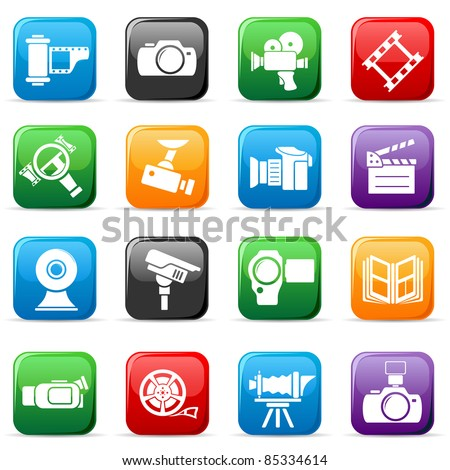Set of colored video buttons - stock vector