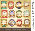 Set of colored vintage labels - stock vector