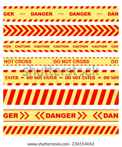 Set of colored warning, danger and chevron ribbons or tape restricting entry in orange and yellow - stock vector