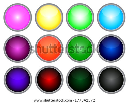 Set of colored web buttons. Vector