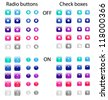 Set of colored web radio buttons and check boxes - stock vector