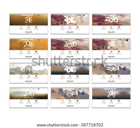 Set of colored web templates with a new year theme - stock vector