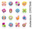Set of 16 colorful abstract design elements and logo graphics - stock vector