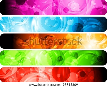 Set of colorful abstract headers. Vector background eps 10 - stock vector