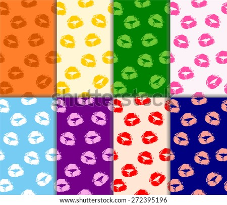 Set of colorful abstract seamless pattern with beautiful print of woman lips. collection of beauty lipstick female lips kisses prints on multicolored paper. vector art image illustration background - stock vector