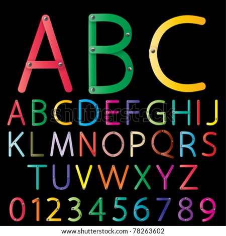 Set of colorful alphabet vector - stock vector