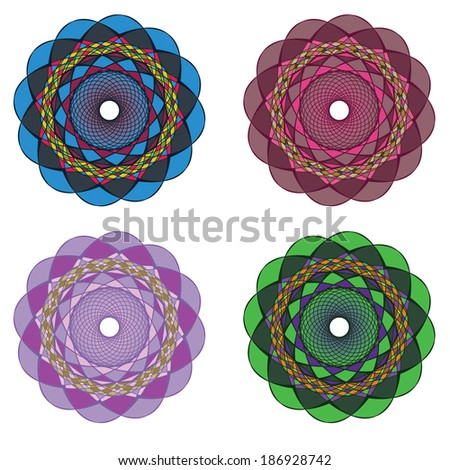 Set of colorful and funky circular ornamental elements. - stock vector