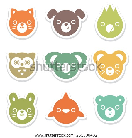 Set of colorful animal and bird face stickers. Great for for decals cards, labels and tags. Minimal style, includes cat, dog, mouse, rabbit, owl, dolphin, koala, parrot, bear. - stock vector