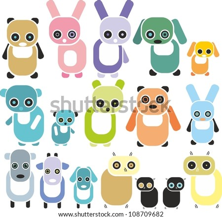 set of colorful animals - stock vector