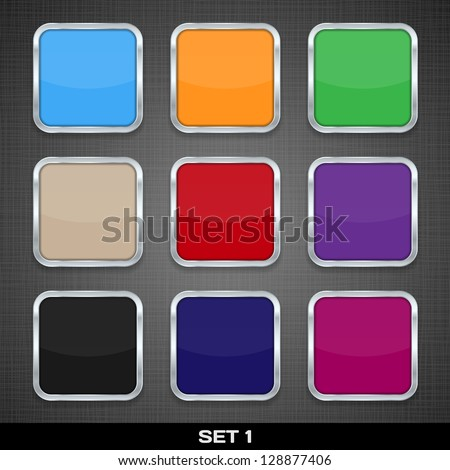 Set Of Colorful App Icon Templates, Buttons, Backgrounds. Set 1. Vector