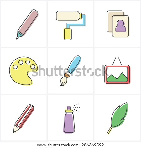 set of colorful art icons - stock vector