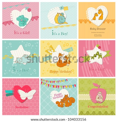 Set of Colorful Baby Cards  - for arrival, birthday, congratulation, invitation  in vector - stock vector