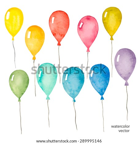 Set of colorful balloons inflatable, watercolor, vector illustration. - stock vector