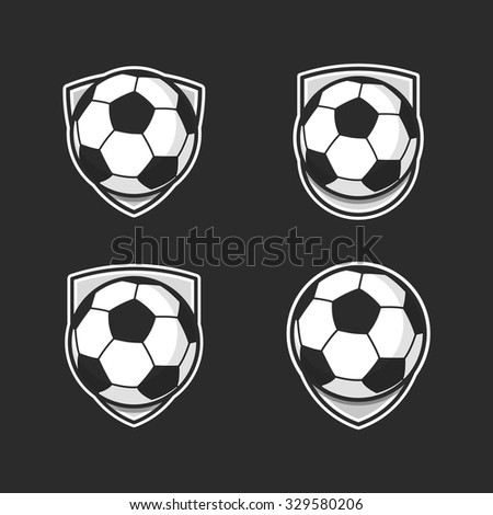 Set of colorful balls on black background. Football balls. Vector. Colorful sport stickers.