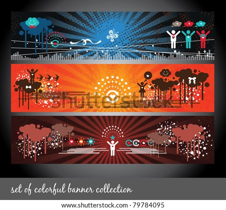 set of colorful banner collection - stock vector