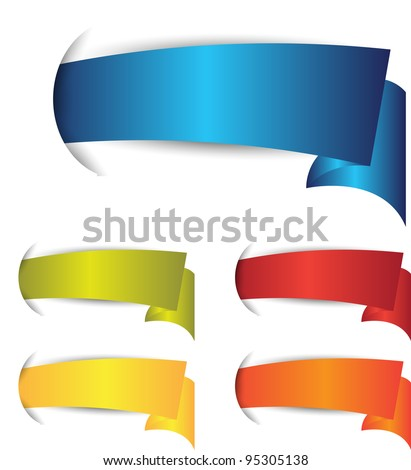 set of colorful banner or ribbons - stock vector