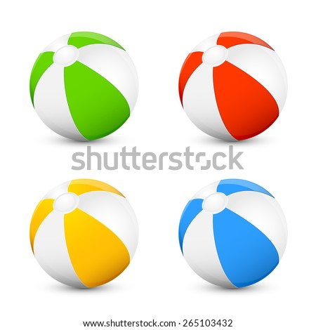 Set of colorful beach balls isolated on white background, illustration. - stock vector