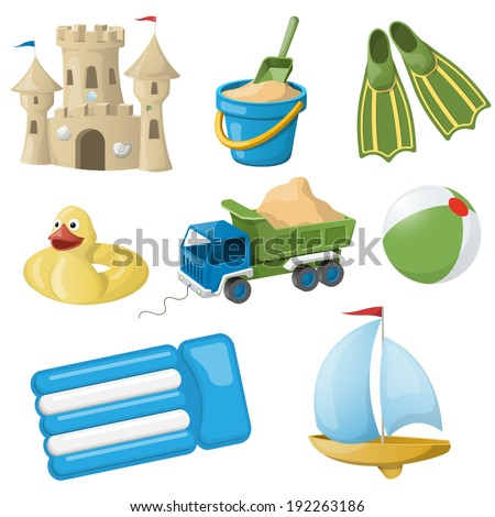 Set of colorful beach toys for kids. Vector illustration - stock vector