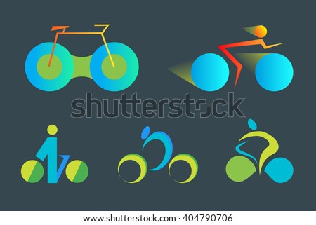 Set of colorful Bicycle abstract vector icon and logo templates. Design element for environmentally safe transport, leisure time and outdoor sport.  - stock vector