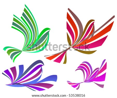 Set of colorful birds - stock vector