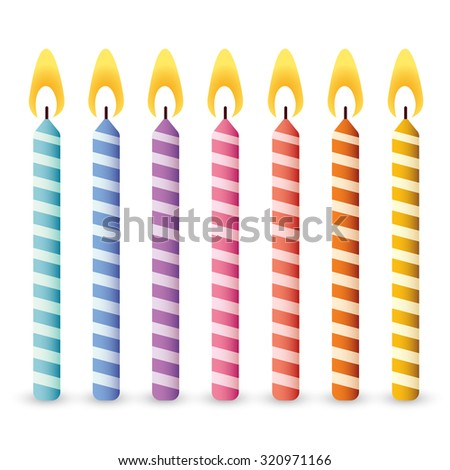 Set of Colorful Birthday Candles : Vector Illustration - stock vector