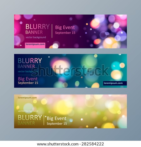 Set of colorful blurry bokeh web site banners templates.