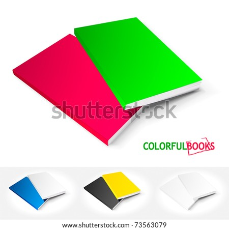 Set of colorful books - stock vector