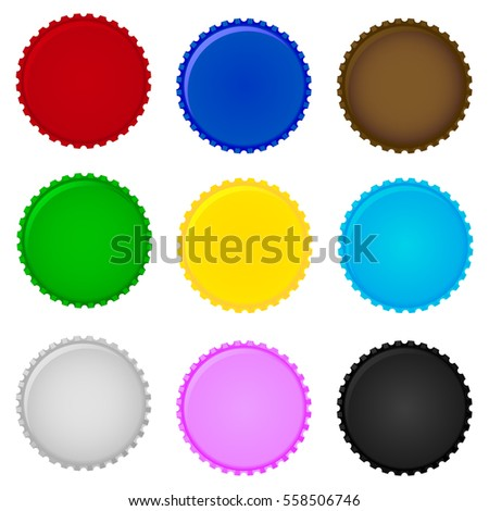Set of colorful bottle caps. Vector.