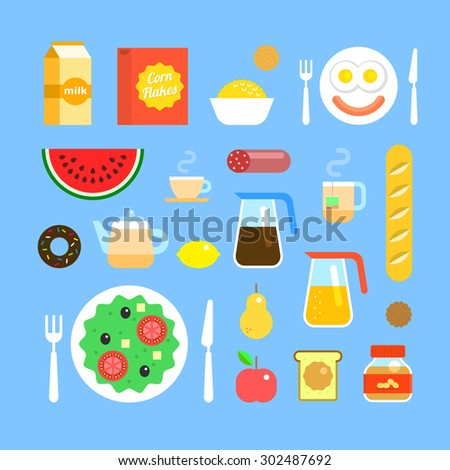 Set of colorful breakfast icons in flat style. Fresh delicious food and drinks, fruit, tea, coffee and juice. American breakfast. Light beverages and snacks. Stock vector icons. - stock vector