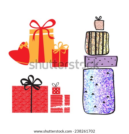 Set of colorful bright shiny vector gift boxes with bows and ribbons.  Isolated vector illustration. - stock vector