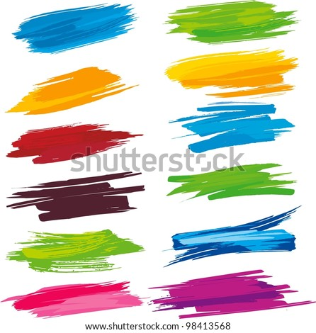 set of colorful brush strokes