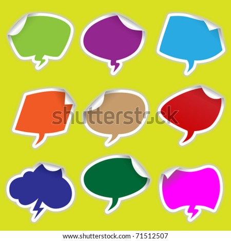 Set of colorful bubble stickers (Vector Illustration for web design)