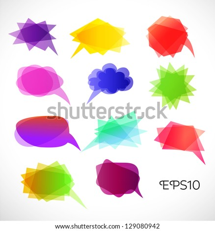 Set of Colorful Bubbles for Speech Vector Design - stock vector