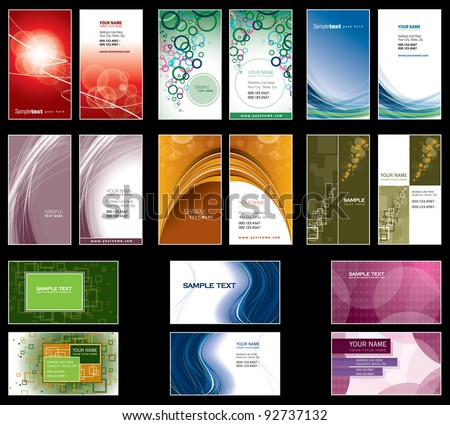 Set of Colorful Business Cards. Eps10.