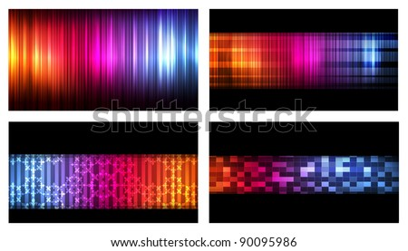Set of colorful business cards neon background vector - stock vector