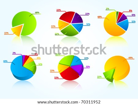 Set of colorful business charts - stock vector