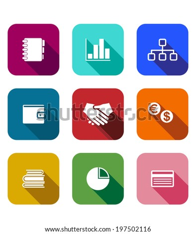 Set of colorful business icons on square web buttons depicting bar and pie graph, handshake, wallet, management, currencies, books, bank card and diary or notebook - stock vector