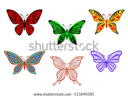 Set of colorful butterflies isolated on white background for design and embellish, such a logo template. Jpeg version also available in gallery