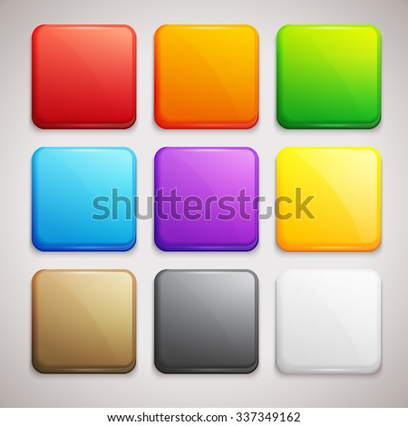 Set of Colorful Buttons. Vector Icons - stock vector
