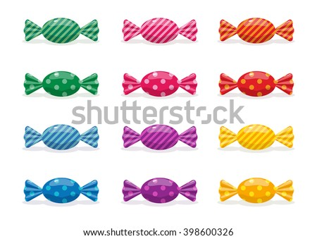 Set of colorful candies - stock vector