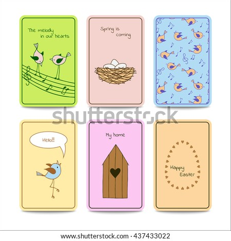 Set of 6 colorful cards with cute birds. Vector design template. - stock vector