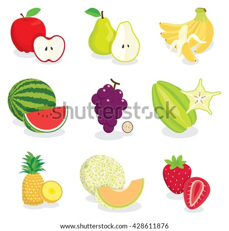 Set of colorful cartoon fruit icons,  fruit icon drawing, fruit icon jpg, fruit icon object Isolated on white. - stock vector