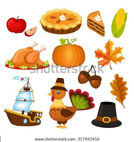 Set of colorful cartoon icons for thanksgiving day. - stock vector